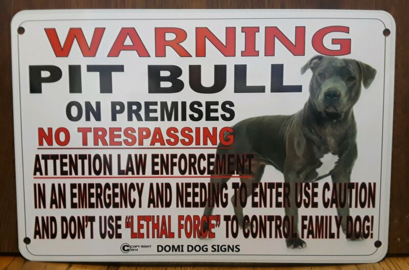"Metal Warning Pit Bull Dog Sign For FENCE ,Beware Of Dog 8""x12"""