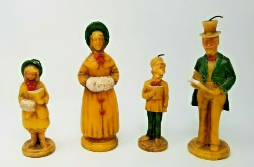 Antique Hurt Set of 4 Victorian Christmas Carol Family Wax Candle Figurines