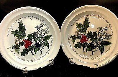 """PORTMEIRION THE HOLLY AND THE IVY SALAD PLATES PAIR(2) 8.5"""" Discontinued"""