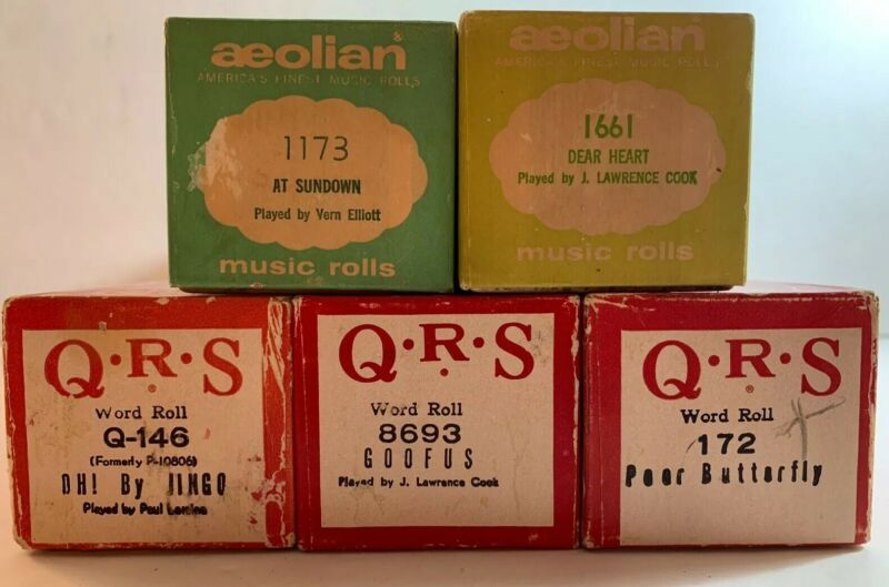 Player Piano Rolls Lot Of 5 Vintage Sing Along With Words (n)