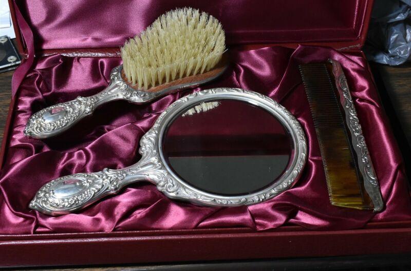 Gorham Sterling Dresser Set Fancy Mirror Brush, Comb 23 Dresden Rose