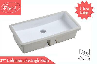 27-13/16 Inch White Ceramic Rectangular Shape Bathroom Vanity Undermount Sink