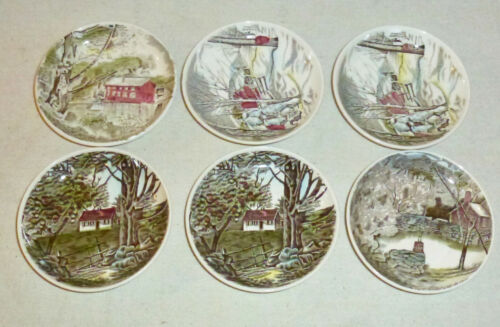 "Johnson Brothers Friendly Village Six Coasters (4 1/8"")"