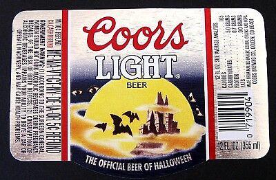 Halloween Beer Labels (Coors Brewing Co COORS LIGHT BEER label CO 12oz OFFICIAL BEER - HALLOWEEN)