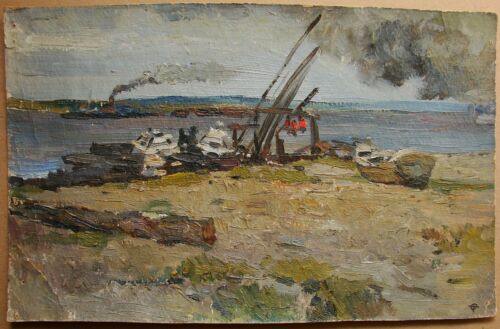 Russian Ukrainian Soviet Oil Painting impressionism river barge boat crane