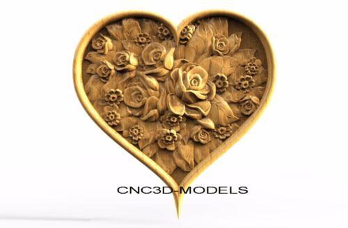 3D Model STL for CNC Router Engraver Carving Artcam Aspire Rose Love Heart 8230