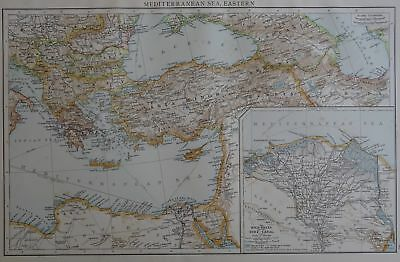 Victorian Map 1896 of EASTERN MEDITERRANEAN SEA & NILE DELTA Times Atlas 1st Gen