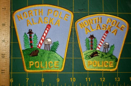 NORTH POLE ALASKA POLICE PATCH PATCHES ESKIMO NATIVE SET OF TWO AK OLD AND REAL