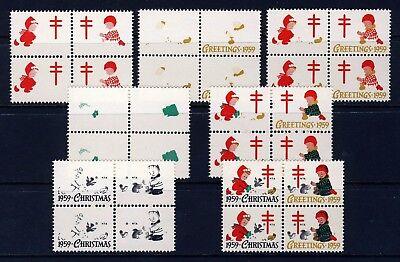 1959 USA Christmas Seal Progressive Proofs BLOCKS (7) . Mint Never Hinged