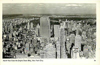MANHATTAN NYC BIRD'S-EYE NORTH VIEW FROM EMPIRE STATE BLDG. RPPC P/C