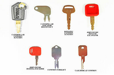Heavy Equipment Key Set 7 Keys CAT Case John Deere Hitachi Hyster Komatsu Bobcat