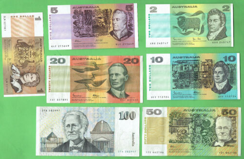 #D351.  TYPE SET OF AUSTRALIAN PAPER BANKNOTES $1, $2, $5, $10, $20, $50 & &100