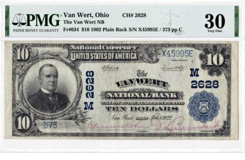 $10 1902 PB National VAN WERT Ohio OH ((Best Known)) Fancy #  PMG 30 Very Fine!