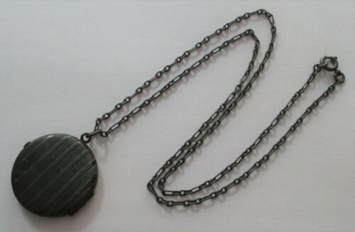 ANTIQUE ART DECO PINSTRIPE GUN METAL LOCKET AND PAPERCLIP LINK CHAIN NECKLACE