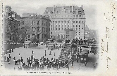 Entrance To Subway  City Hall Park New York City Nyc Vintage Postcard Not Used