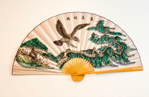 Large 60*35 in Oriental Wall Hanging Folding Fan in Eagle & Great Wall Design