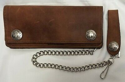 "Brown Leather Trucker Wallet Buffalo Nickel Snaps 7.5"" x 3.5"" With 12"" Chain USA"
