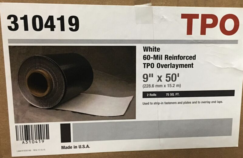 "Roofing  White -60 Mil Reinforced TPO Overlayment 9""x50"" Box/ 2 Rolls"