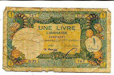 LEBANON 1 LIVRE 1945 VG+ NR 50.00