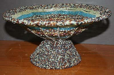 Glass Beaded Candy Dish Hand Made Steel and Wire Frame India Vase Fruit Bowl Brown Hand Beaded Bowl