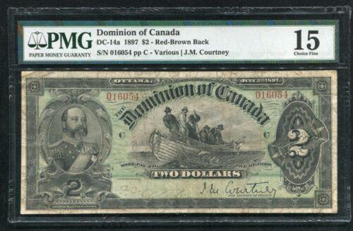 "DC-14a 1897 $2 DOMINION OF CANADA BANKNOTE ""RED-BROWN BACK"" PMG FINE-15 *RARE*"