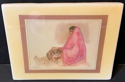 """R C Gorman Southwest Tile 6"""" x 4.5"""" Sandstone Creations Wall Hanger Woman in Red"""