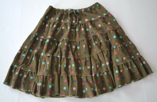 MINI BODEN Sz 9 10y Olive Green Brown Polka Dot Corduroy Tiered Twirl Skirt