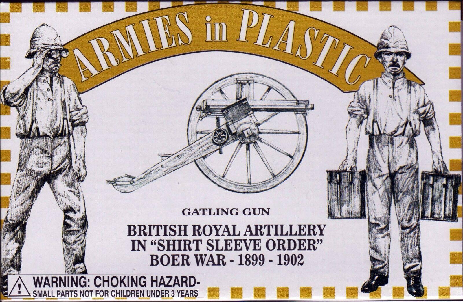Armies in Plastic Boer War Royal Artillery Gatling Gun Shirt Sleeve 54mm 1/32