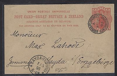 BRITISH LEVANT, TURKEY  (P1708B)  GB QV 1P PSC TO GERMANY 1895 WITH MSG