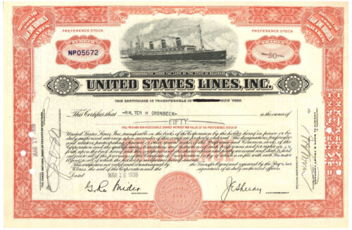 United States Lines,Inc. Stock Certificate