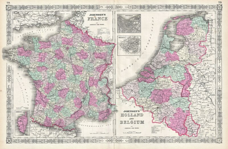 1864 Johnson Map of France, Holland and Belgium