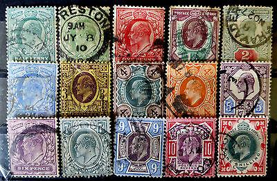GB KEVII 1902-13 complete set of 15   CV £275 (SG 2018) - reduced