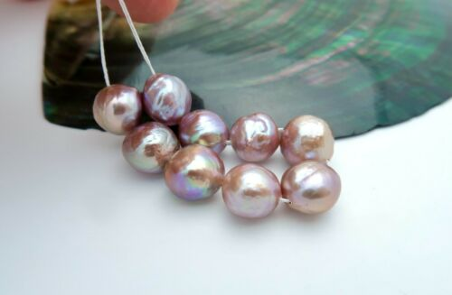 9 BEAUTIFUL AA+ FRESHWATER EDISON PURPLE BAROQUE CULTURED PEARLS - RICH COLORS