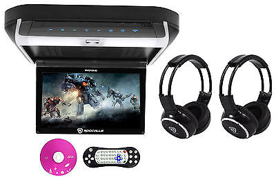 "Rockville RVD10HD-BK 10.1"" Flip Down Monitor DVD Player, HDMI, USB+Headphones"