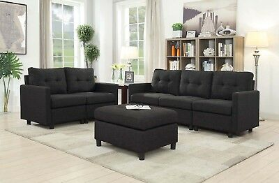 - 5 Seat Contemporary Sofa Set Modern Sectional Sofa Living Room Furniture Black