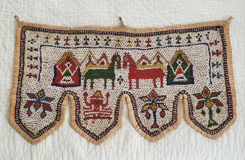 Small Vintage Folk Art Gujarat Beaded Toran Door Valance