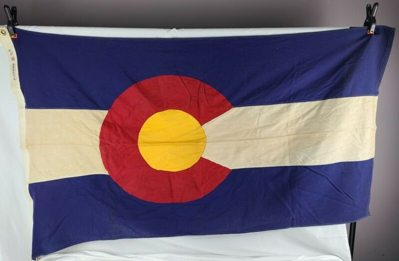 True Vintage Colorado State Flag Bulldog Bunting 100% Cotton 3 x 5 Feet