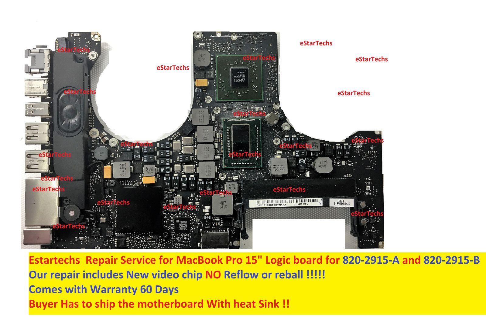 """Macbook Pro 15"""" 820-2915-A / 820-2915-B Logic board Video chip Repair Service!!!"""