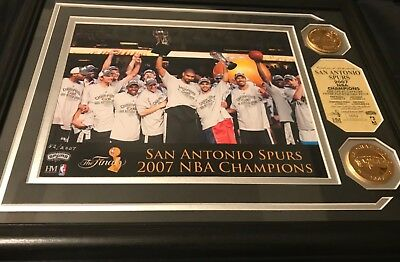 LIMITED EDITION # 52 SA Spurs 2007 NBA Champions Photo Plaque with 2 Medallions