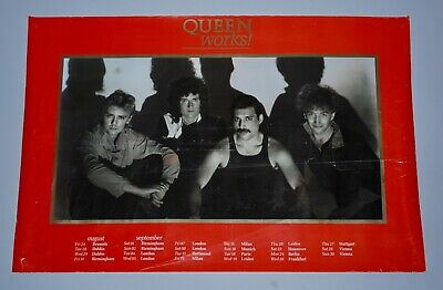 SUPER-RARE ORIGINAL 1984 QUEEN 'THE WORKS' UK/EU TOUR POSTER. freddie mercury