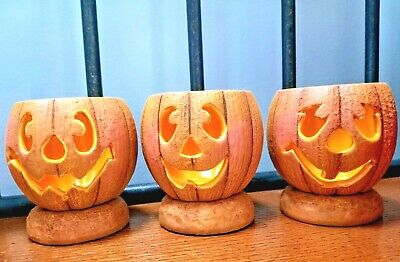Set of 3 hand painted ceramic pumpkin tea light holders Halloween