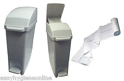 WHITE Classic Sanitary Waste Bins Ladies +LINERS Feminine Hygiene Unit Sani bin