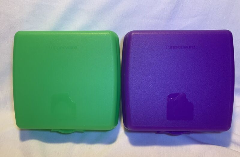 TUPPERWARE Sandwich Keeper - Square Hinged Lunch Box - Green & Purple