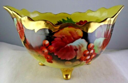Artist Signed Pickard China Footed Bowl Hand Painted Grapes & Leaves