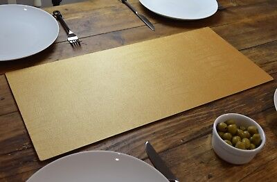Set of 2 ARTISAN GOLD Bonded Leather TABLE RUNNERS MATS Centerpiece MADE IN UK
