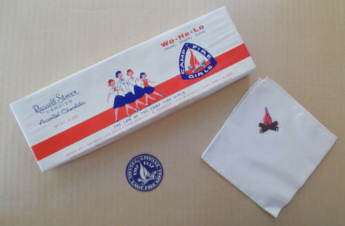 Vintage CAMP FIRE GIRLS Lot Candy Box, Jubilee Tag, Hankerchief Hanky c1950