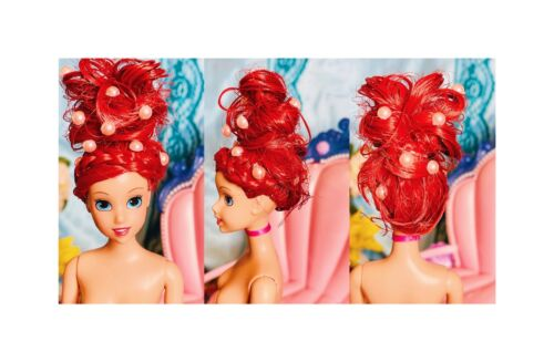 Mattel Ariel The Little Mermaid Nude Doll OOAK Hair And Dolphin Chariot READ  - $26.00