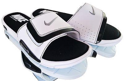 New Nike Comfort Slide 2 Men's Slide Sandals White Black Solid 415205 100