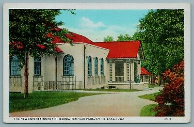 Spirit Lake Iowa~NEW Entertainment Building~Knights Templar Park 1918 Postcard