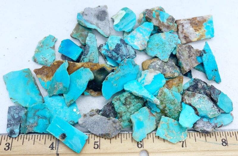 American Turquoise Mixed Slabs Rare Rough 25-1